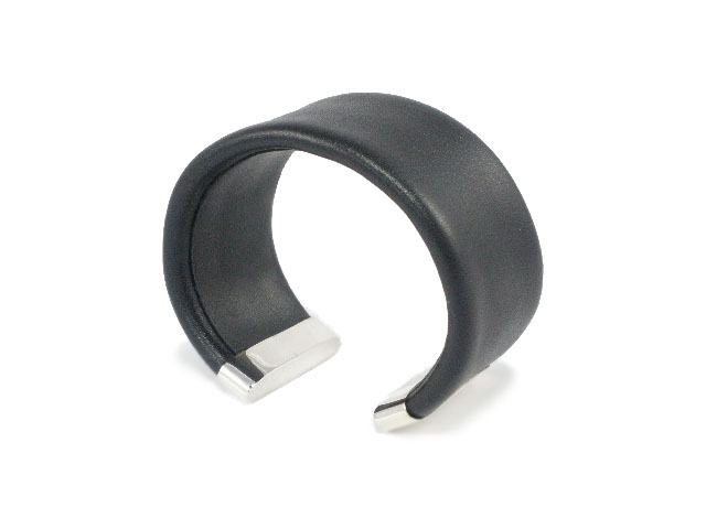 Fashion Jewelry Bracelets Black Leather Sterling Silver Cuff Bracelet 6cm