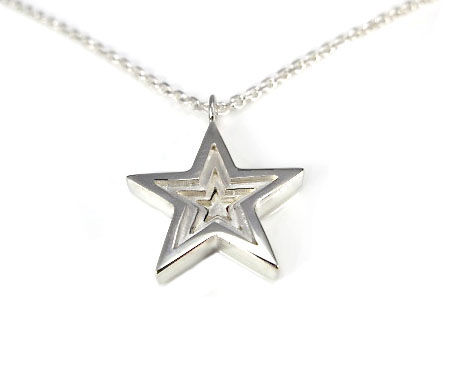 Sterling silver 3d star pendant with necklace silver sisters sterling silver 3d star pendant with necklace mozeypictures Image collections