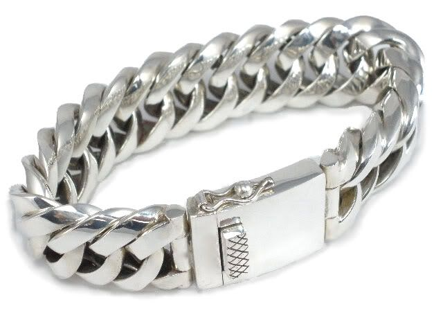 Sterling Silver Mens Heavy Triangular Link Chunky Bracelet