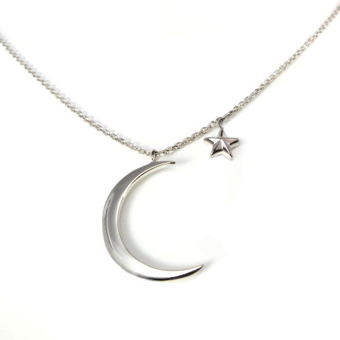 Sterling Silver Moon and Star Pendant and Necklace