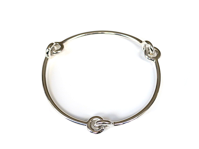 Sterling Silver Solid Love Knot Bangle