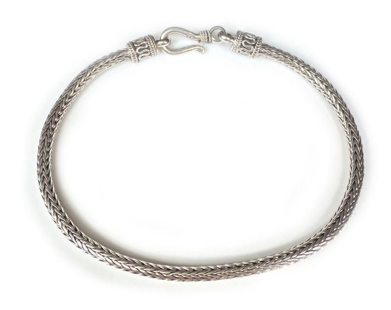 Details About Sterling Silver Bali Snake Woven Bracelet Chain 8 5 21 5cm